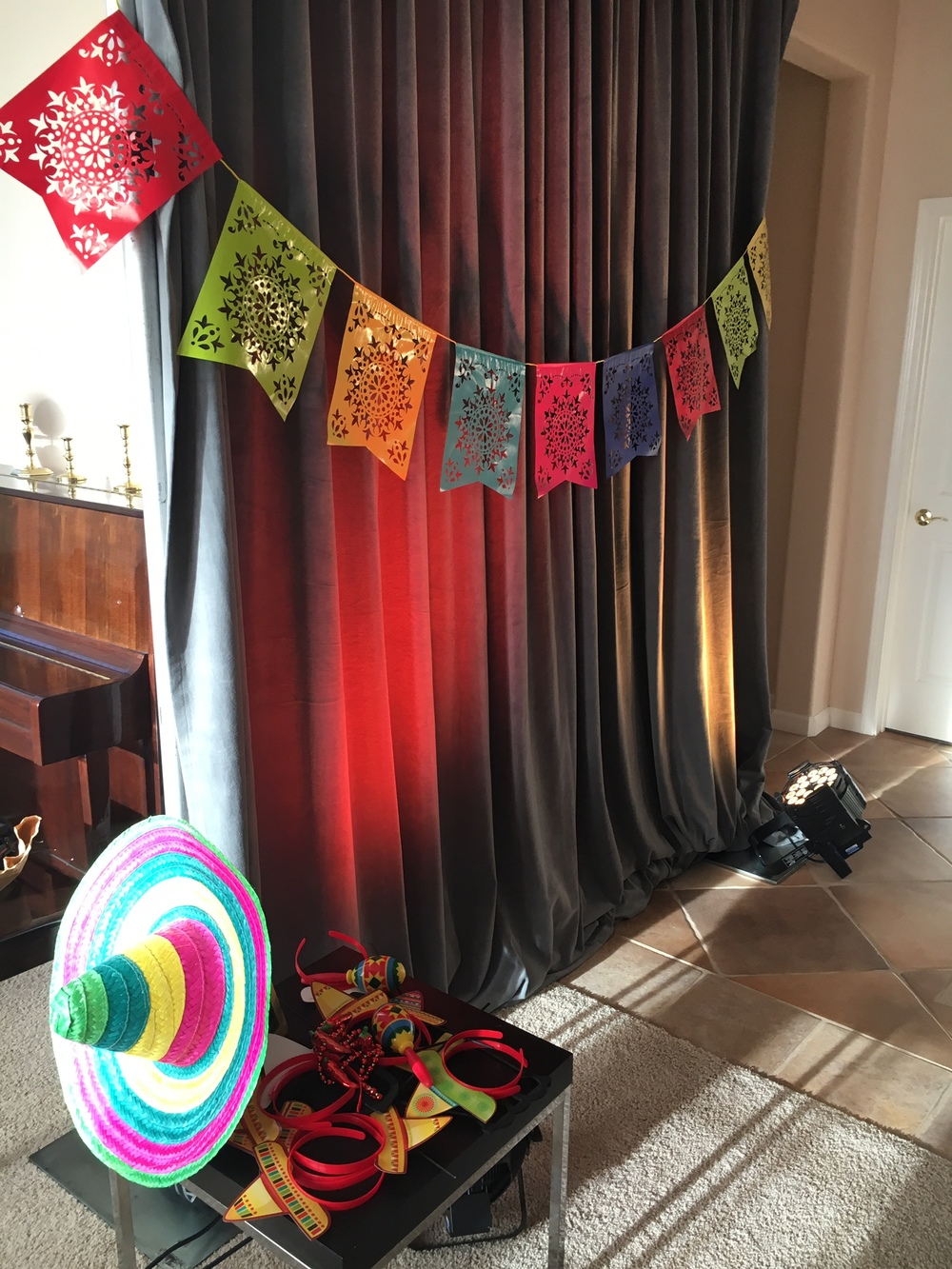 Fiesta specific props from Party City and Oriental Trading Co.