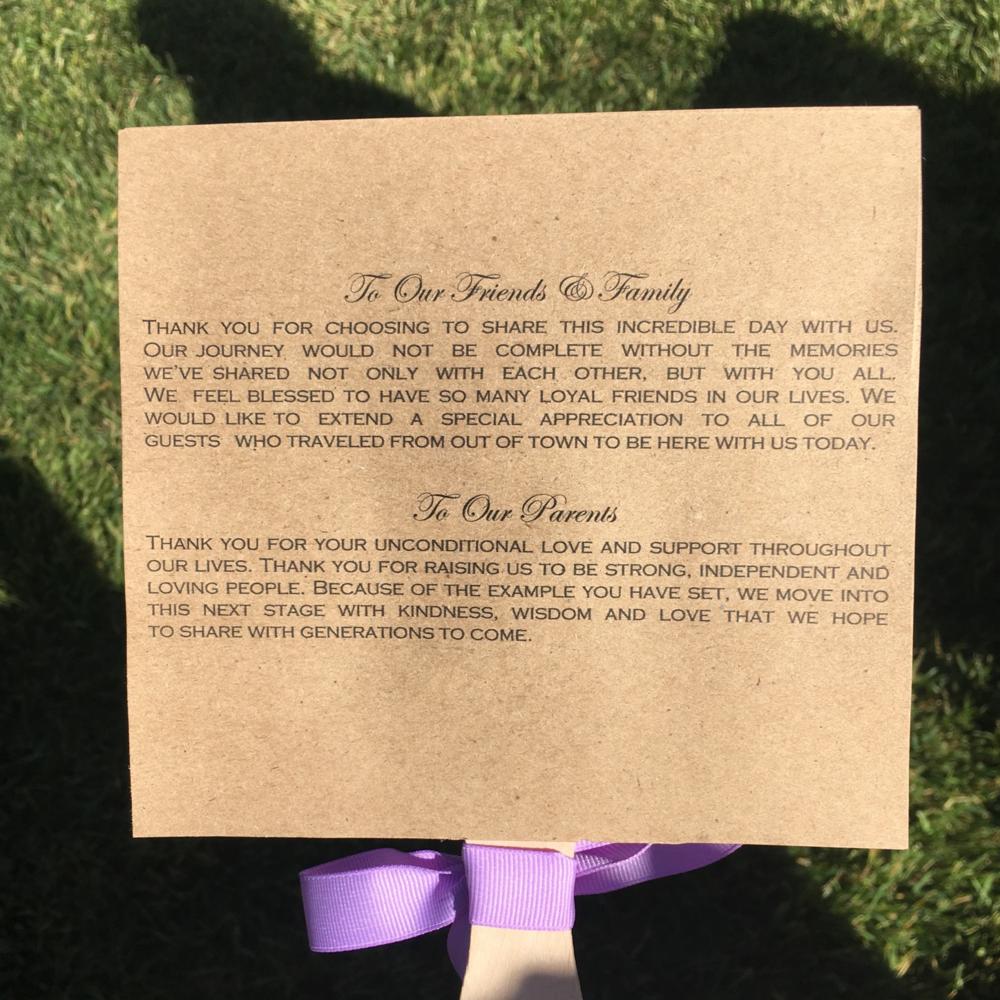 The back of the wedding program/handmade fans