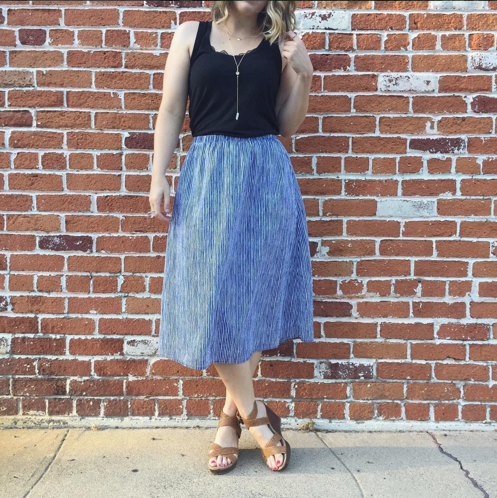 Old Navy skirt and Who What Wear  tank  +  Rocksbox  jewels (use my code for a free month! AndreaBFF8)