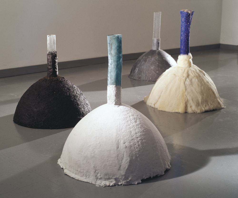 Terrestrial Matter Blue  , 2003 Marble dust, fur, lead and earth each sculpture: 31 x 21.5 x 21.5 in. (78.74 x 54.61 x 54.61 cm)