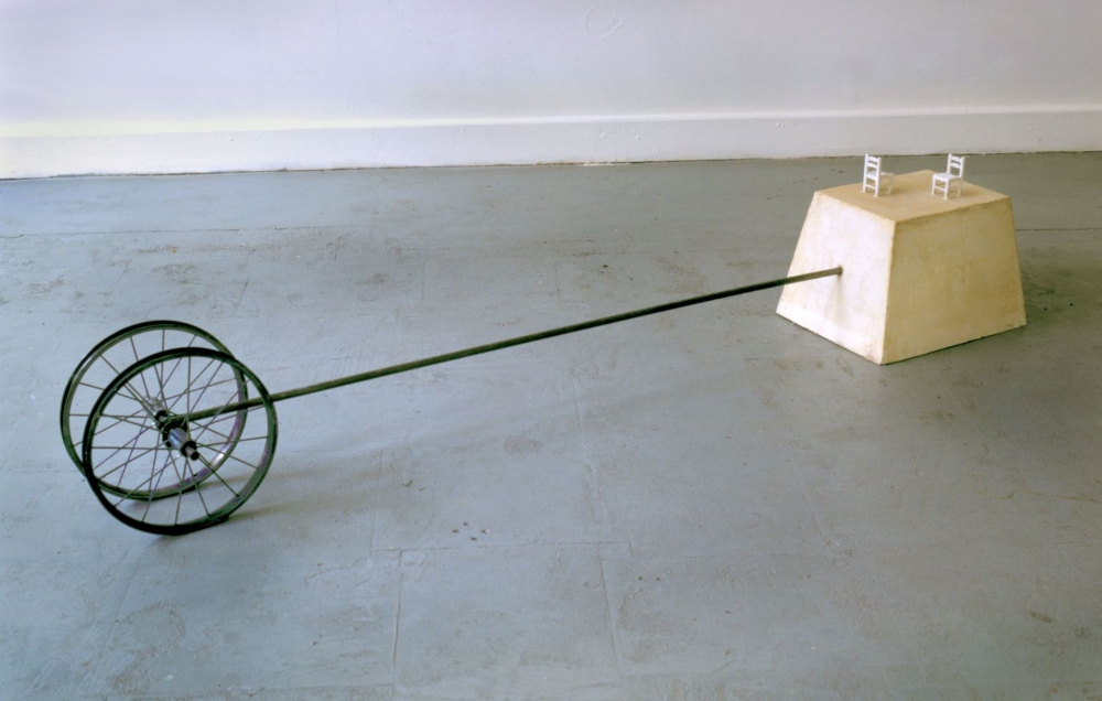 Negotiate  , 1999 Hyrdrastone and steel 12 x 72 x 10 in. (30.48 x 182.88 x 25.4 cm)