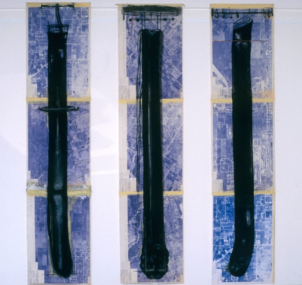 Blueprint Drawings  , 1999 Charcoal, pencil, tap on blueprint map 108 x 32 in. (each) (274.32 x 81.28 cm)