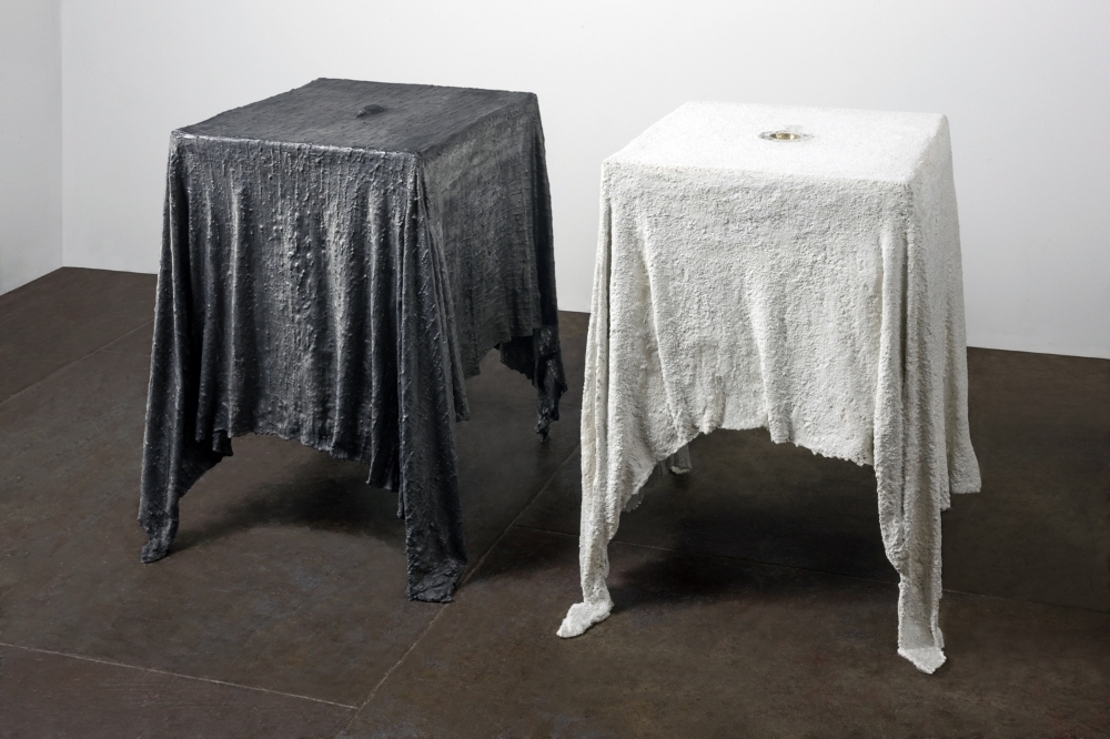 Altars  , 2006 Fabric, hydrostone, resin, graphite and marble dust 28 x 21 x 16 in. (each) (71.12 x 53.34 x 40.64 cm)