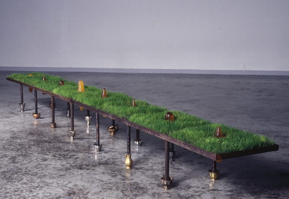 Opened Ground  , 2001 Steel, grass, cast rubber, resin and found objects 24 x 192 x 16 in. (60.96 x 487.68 x 40.64 cm)