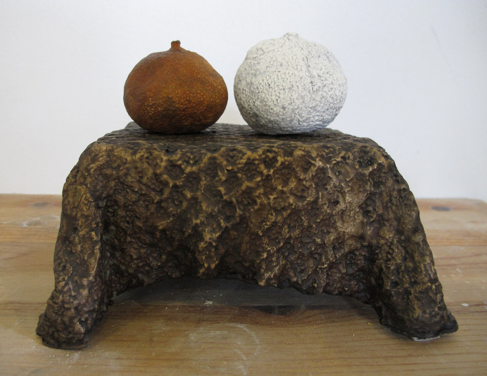 Table with Fruit  , 2012 Cast plaster, fabric 5 x 7 x 4 in. (12.7 x 17.78 x 10.16 cm) Image courtesy: 511 Gallery, New York, NY