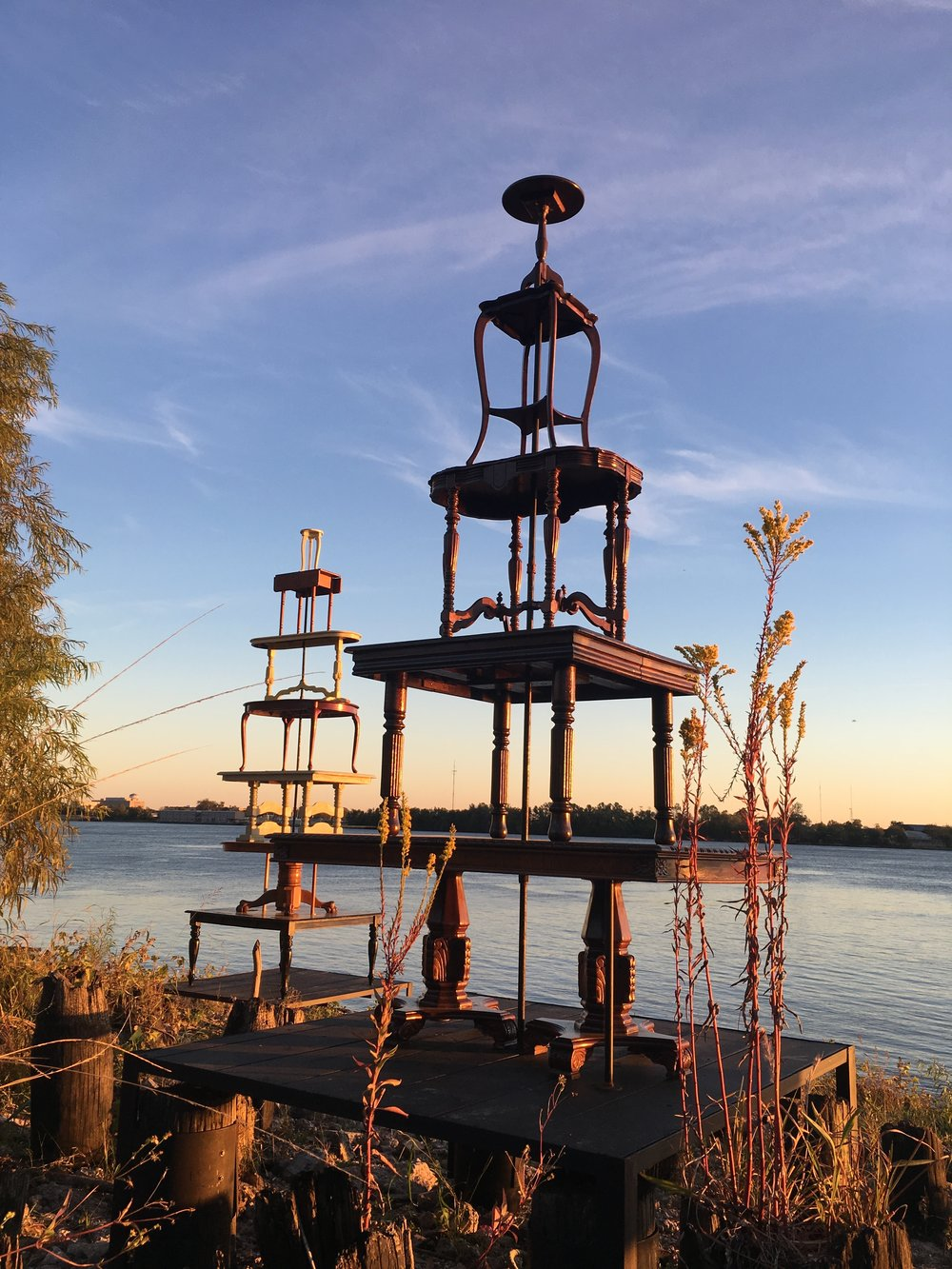 Rising Tables  , 2017 Site specific sculpture  for Prospect 4. New Orleans  Crescent City Park, New Orleans, LA   Click here to read, Prospect 4. New York Times article