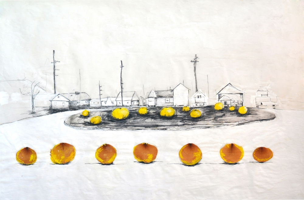 Upper Ninth Grapefruit  , 2009 Graphite, watercolor and collage on vellum 24 x 38 in. (60.96 x 96.52 cm)