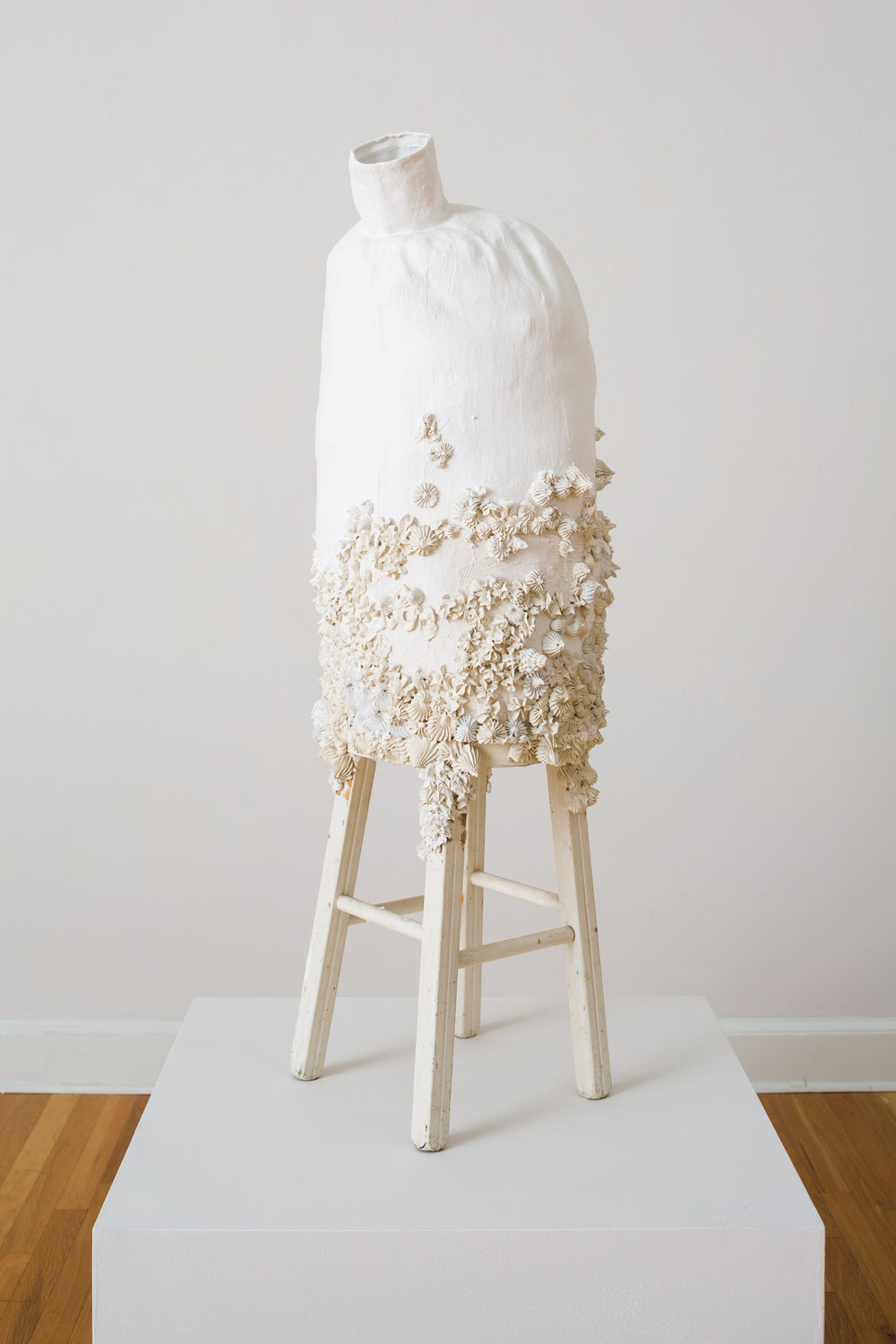 Flora Pearlinious  , 2012, Installation view Hydrocal, fabric and wood 42 x 14 x 14 in. (106.68 x 35.56 x 35.56 cm)