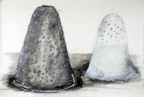 Mounds Study  , 2011 Pastel, watercolor, and pencil on paper dimensions variable