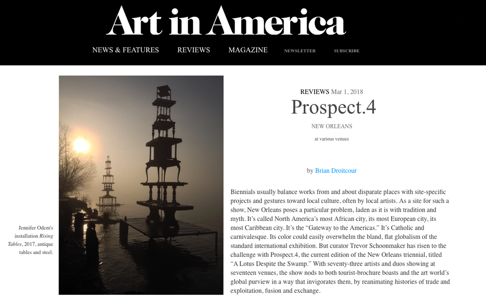 "A Creative Lotus in the Biennial Swamp - REVIEW | ART IN AMERICAMarch 1st, 2018 - Curator Trevor Schoonmaker has risen to the challenge with Prospect.4, the current edition of the New Orleans triennial, titled ""A Lotus Despite the Swamp.""READ MORE ▸"