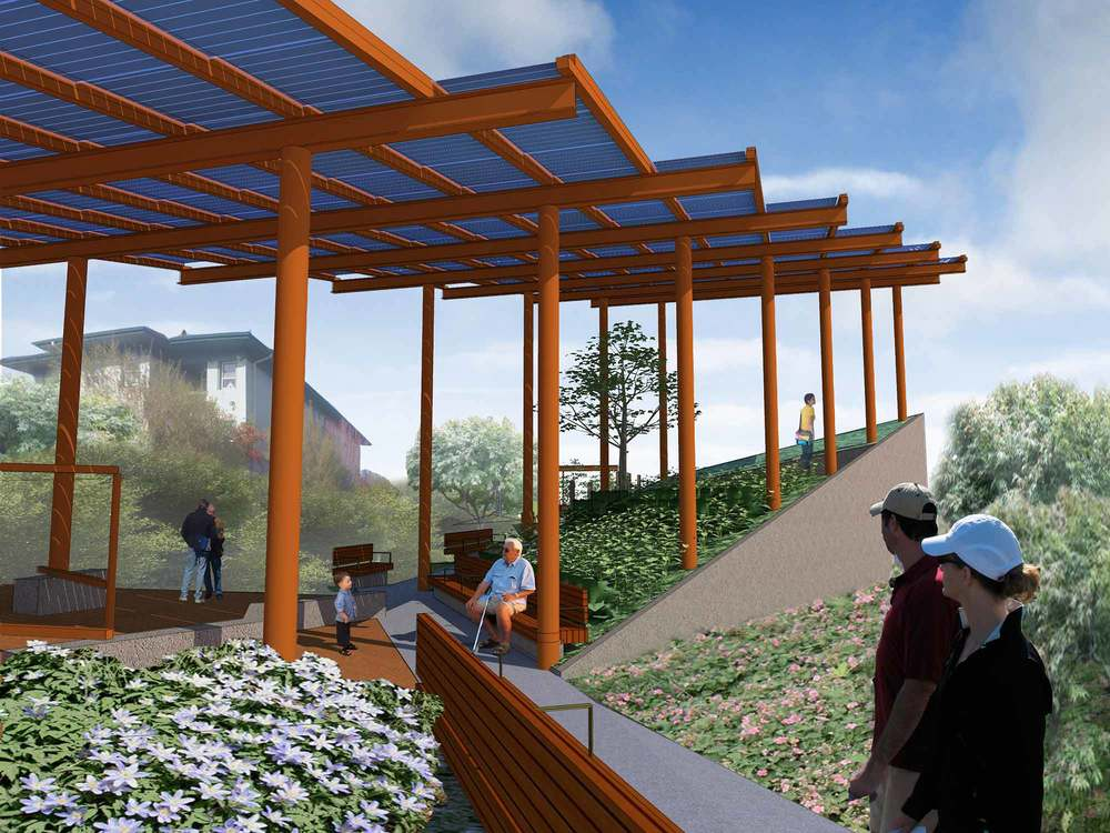 Sunset Substation Park is a community designed, neighborhood pocket park on a decommissioned City Light utility Substation. The project creates both much needed open space and 35,000 kWh of solar power annually.