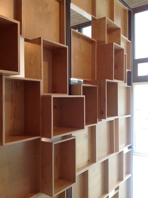 cast architecture office plywood box wall