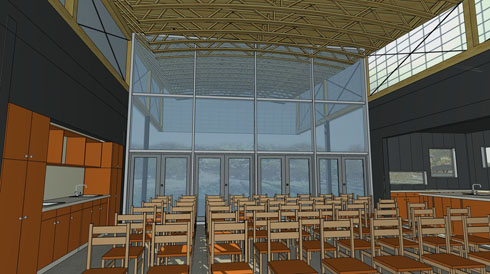 RBUFW classroom building, interior view (architectural rendering)