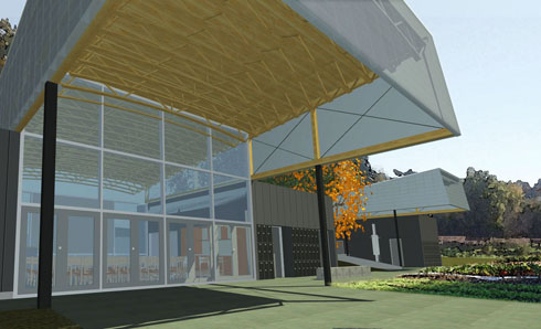 RBUFW classroom building, view under main porch (architectural rendering)
