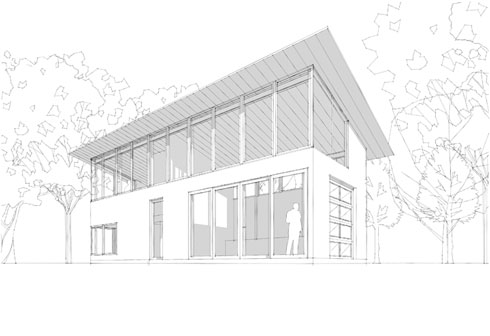 northwest perspective showing clerestory band wrapping studio and office