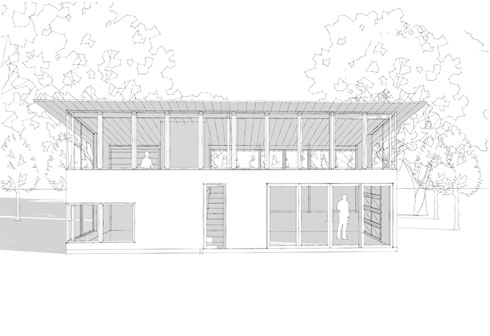 north elevation: office over guest suite to the left/studio to the right