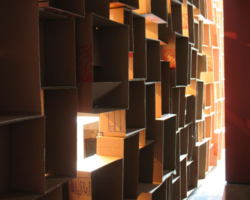 the boxes leaking light into the copy room