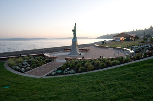 Alki Beach Park--Statue of Liberty Plaza--pro bono project completed in 2009