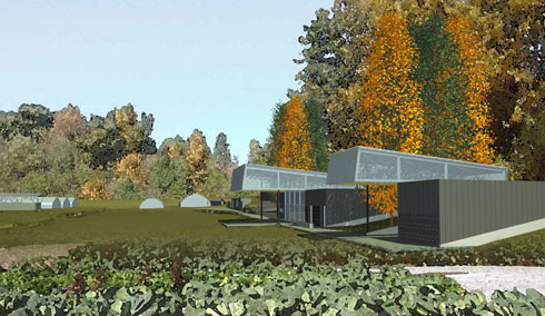 RBUFW Classroom Building, view from the SW (architectural rendering)