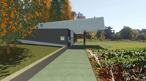 RBUFW Classroom building, view looking south from the entry path (architectural rendering)