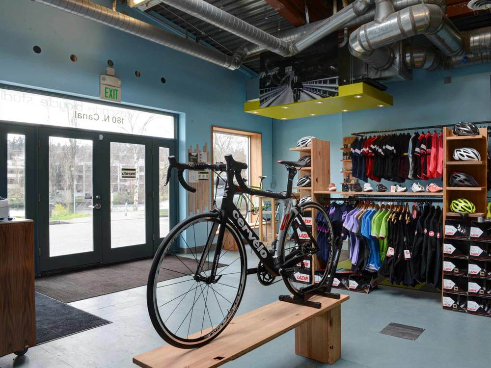 Cascade Bicycle Studio tenant improvement converts an office space in the old Red Hook bottling plant into a retail space, repair shop and fitting studio for the the sale, fitting and maintenance of high quality bicycles and accessories.