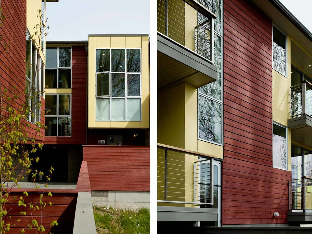 A five unit set of townhomes in the Fremont neighborhood serves as a transition between the commercial and residential fabric of the area.