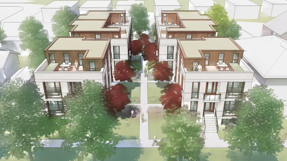 6 Courtyard townhouses on a 12,000 sf ft lot