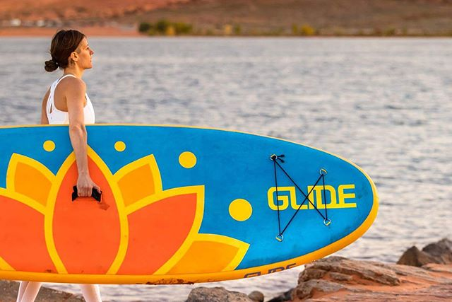 Sneak peak of the 2018 @glidesup board lineup, starting with the #LotusYogaBoard 🕉😍 💟  Yoga in beautiful light at Sand Hollow Reservoir in warm Southern Utah!  Photographer @shutterscorpion  #shutterscorpion #glidesup #paddletheplanet #explorenewwaters #getoutandpafdle #2018supboards #researchanddevelopment #womenpaddler #womenonsup #yogaonsup #supyoga #outsideyoga #yogaonthewater #lotusboard #inflatablesup #suptogo #supeverywhere #suponthego #easysup