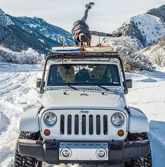 Who's ready for SNOWGA? Cold temps and snowy mountain peaks in Utah, feels like winter is finally here!  Photographer @shutterscorpion  #snowga #winterinutah #winterseason #jeep #yogaonajeep #winterSUP #lookingforwater #wherewillyoursuptakeyou #adventureseeker #wanderingyogi #snowadventure #getoutside #shutterscorpion #sidecrow #armbalance #yogaputdoors outdooryogi #pineviewreservoir
