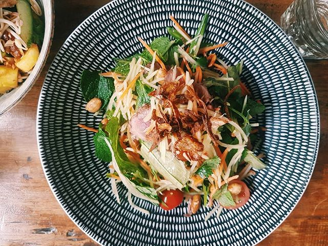 Let's not forget about this crowd pleaser as well... PAPAYA SALAD  Fresh green papaya, young carrots, long beans, cherry tomatoes, Vietnamese mint, coriander, peanuts, hot & sour Nahm Jim and crispy shallots with the option to add chicken or beef.