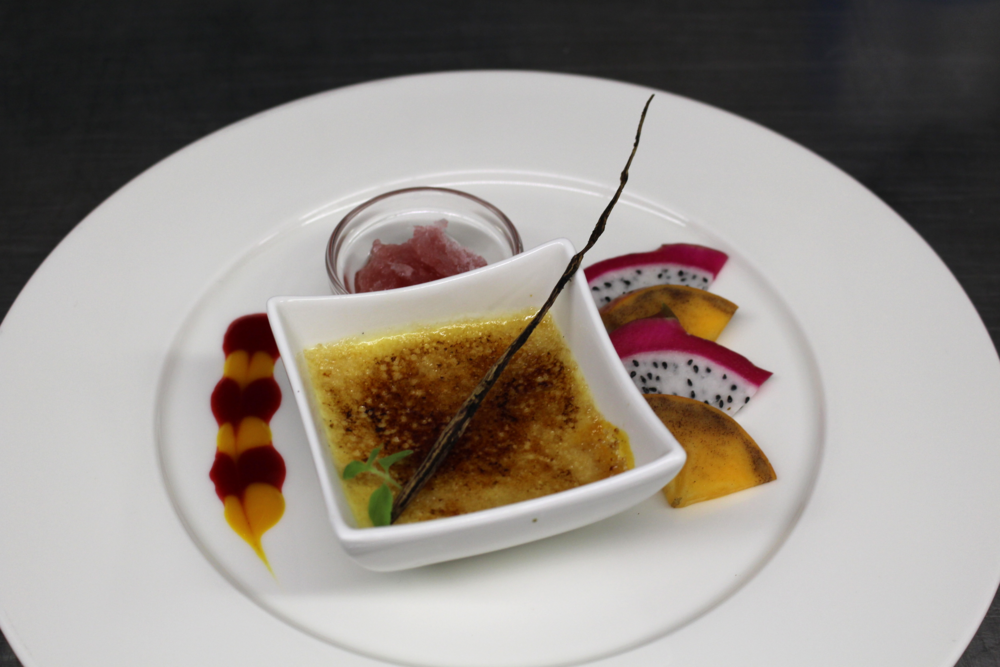 Creme brulee with garnishes