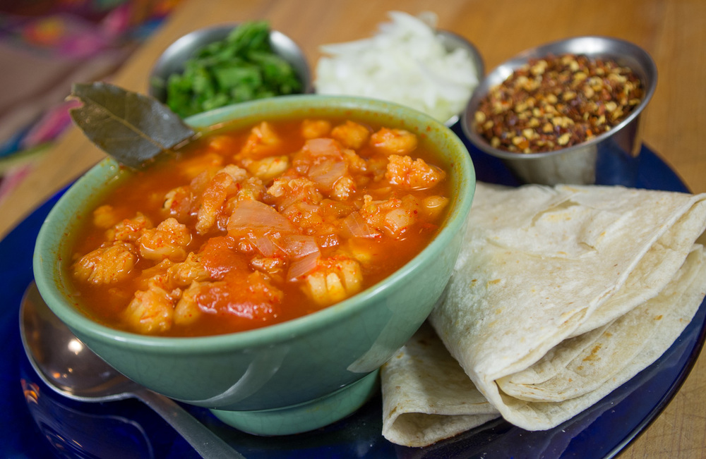 Posole and side of flour tortillas
