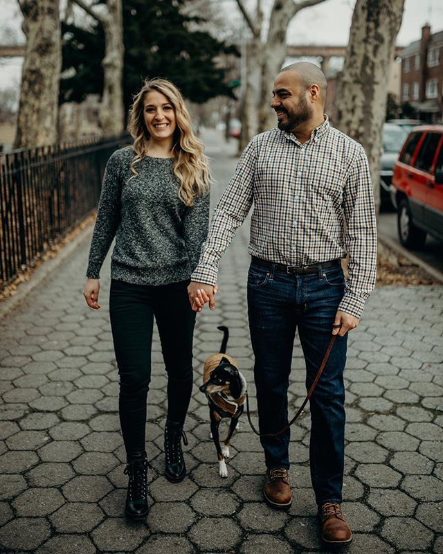 Stephanie + Brian + Socky 💕💖 . . . . . . #love #engagementphotos #engagementphotographer #nycweddingphotographer #astoriaparkengagement #dogsofinstagram #portrait #engagement #engagementsession