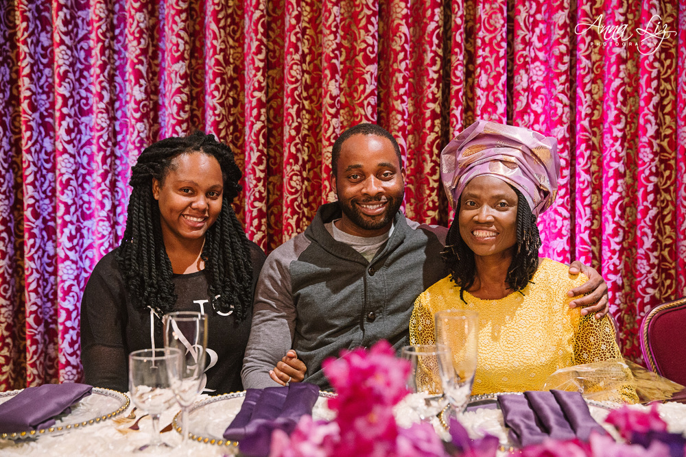 Mrs. Dorcas pictured with her nephew and his wife at the high table.
