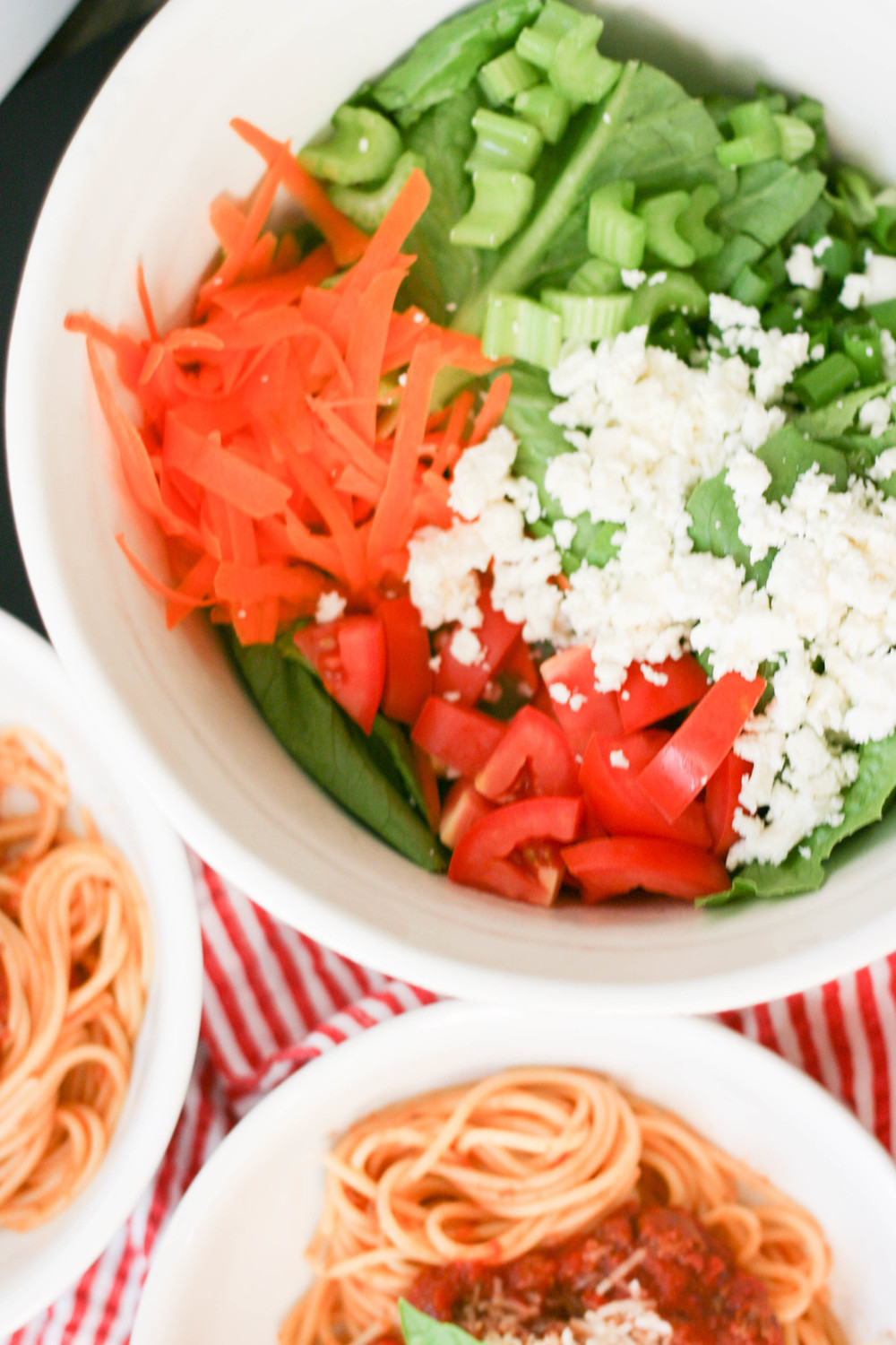 spaghetti meat sauce and feta tossed salad | magnolia thymes