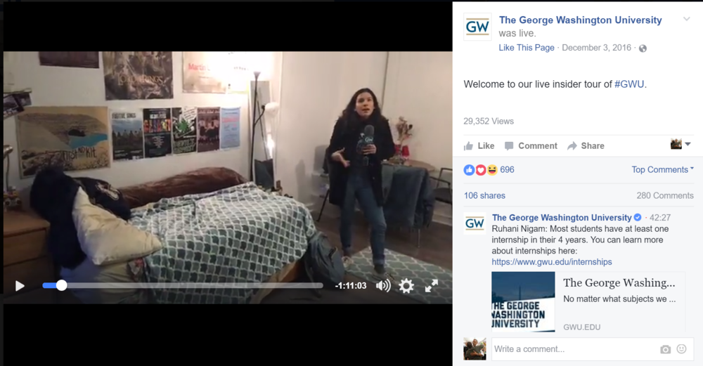 Facebook Live campus tours were popular with Admissions offices this year.