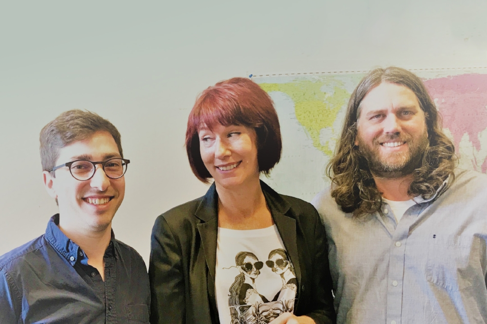 Ben Berkley (executive editor, The Onion), Mary Erangey (SVP, PCI), Chad Nackers (head writer, The Onion)