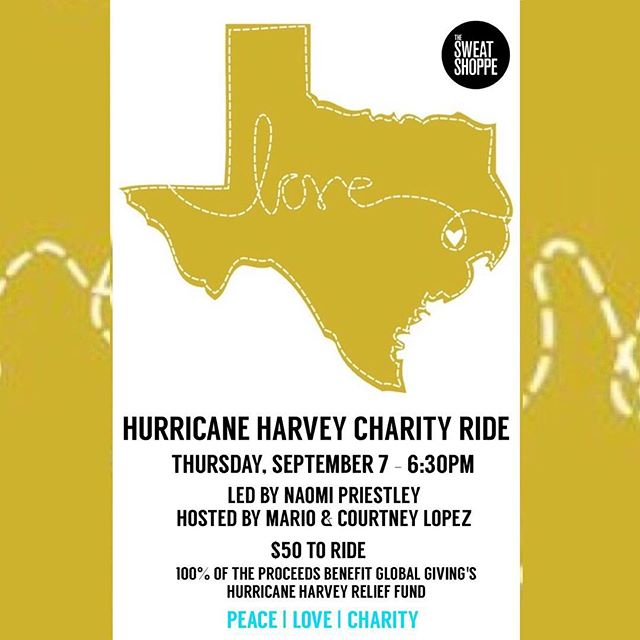 HURRICANE HARVEY CHARITY RIDE. 🚴🏼🚴🏻‍♀️💦💧💛💛☮️👫👭👬🙏🏻 Hosted by @mariolopezextra & @courtneym_lopez Led by me ☺️🙏🏻 THIS Thursday evening @ 6:30pm. Please come ride for the folks in need in Texas. The ride is $50 a bike. 100% of the proceeds will go to Global Giving's Hurricane Harvey Relief Fund. PEACE.LOVE.SWEAT. @mariolopezextra @courtneym_lopez  @thesweatshoppe #heatedindoorcycling #tolucalake #charityride #community #Sept7 #HelpingTexas #thesweatshoppe #hurricaneharvey #relief #thursday #630pm #texasourtexas
