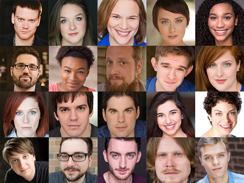 Cast of Cosmic Events Are Upon Us, listed from left to right, top to bottom: Line 1: Zach Bundy, Samantha Dedian, Emily Demko, Chloe Dzielak, Elena Feliz Line 2: Zack Florent*, LaKecia Harris, Maximillian Lapine, Tim Lueke, Julia MacMillan Line 3: Adrienne Matzen*, Martin Monahan, Bob Pantalone, Gloria Petrelli, Carlye Pollack Line 4: Jonathan Rooney Thomas Sparks, Alexander Utz, Lew Wallace*, and Tanner Walters