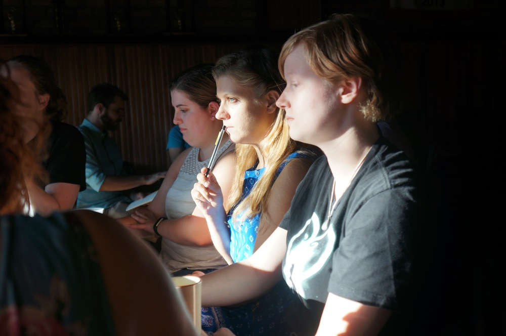 Stage Manager Alyson Kulin (left), Writer/Director Keely Leonard (center), and Assistant Director Kaitlin Taylor (right)