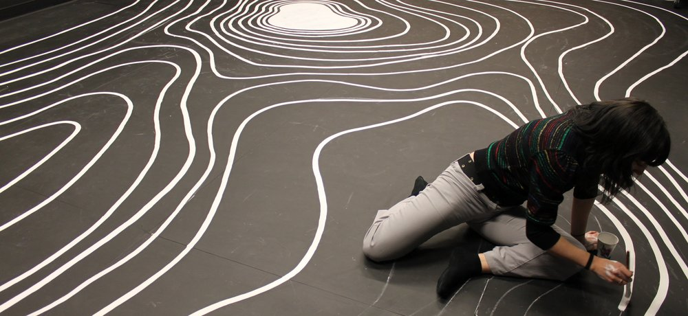 painting the floor for the installation, Sentient City
