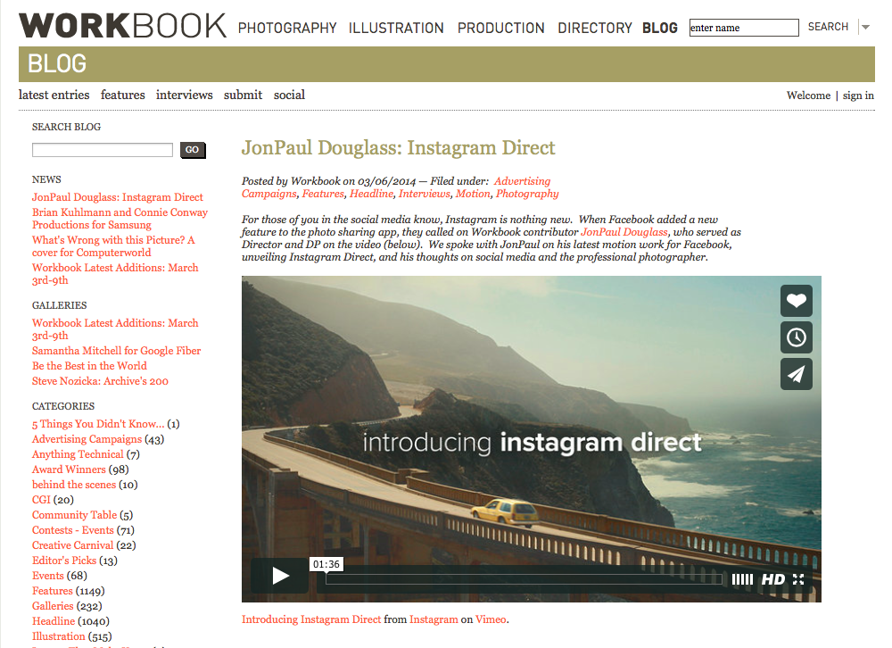 Workbook Instagram Direct