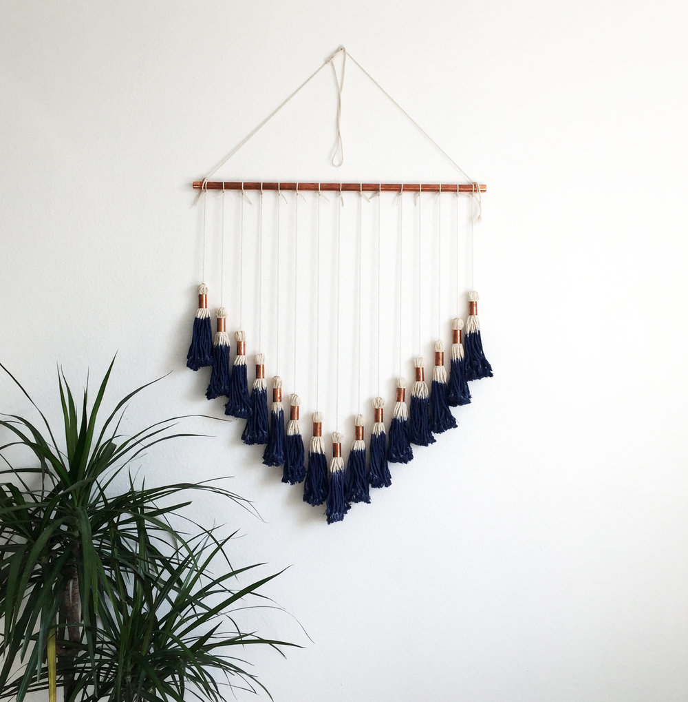 Indigo & Copper Macrame Wall Hanging $80