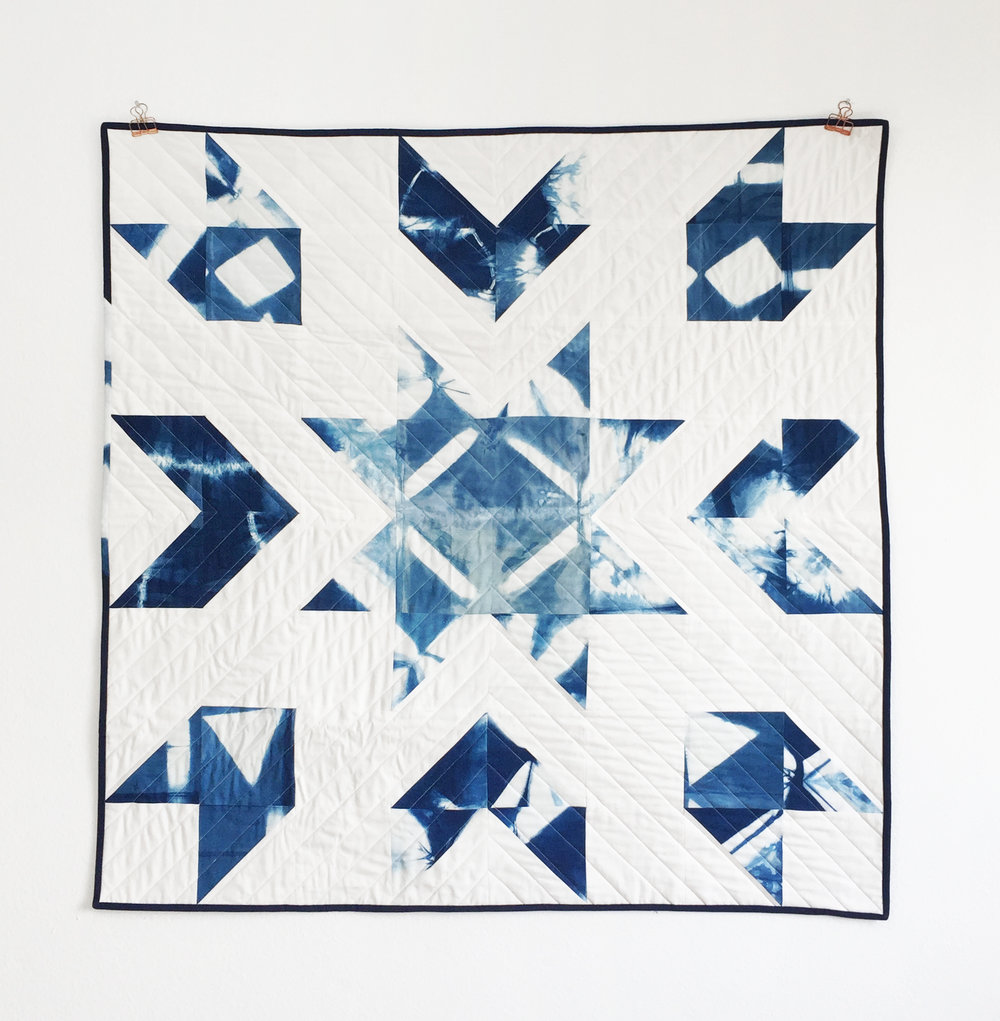 Hand-dyed indigo Shibori Heirloom Baby/toddler Quilt $300