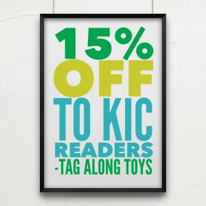 Tag Along Toys 15% off