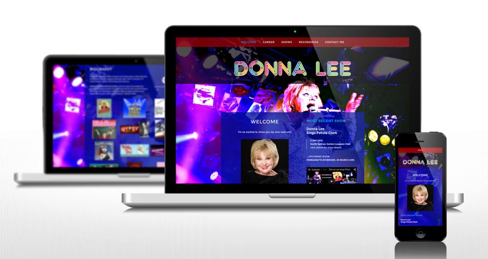 Branding, web site design, domain management, web site build and deploy.  www.donnalee.com.au