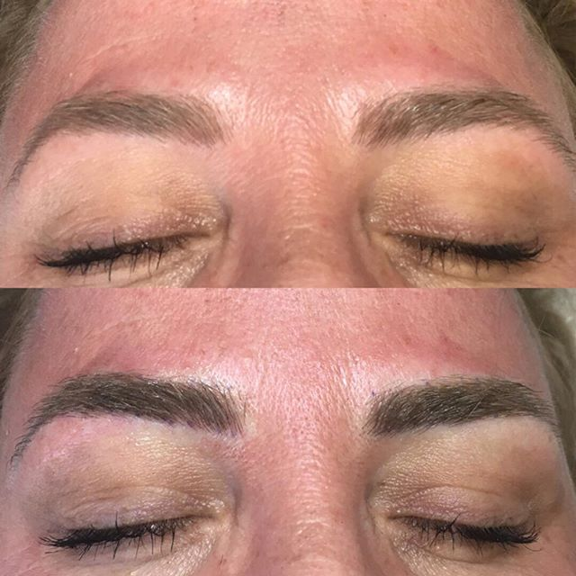 Yearly retouch helps to freshen up the color. Some clients may need it earlier if they have oilier skins. Permanent makeup is meant to fade over time. As skin renews itself and sloughs off, pigment can fade with it. #softap #permanentmakeup #powderedbrows