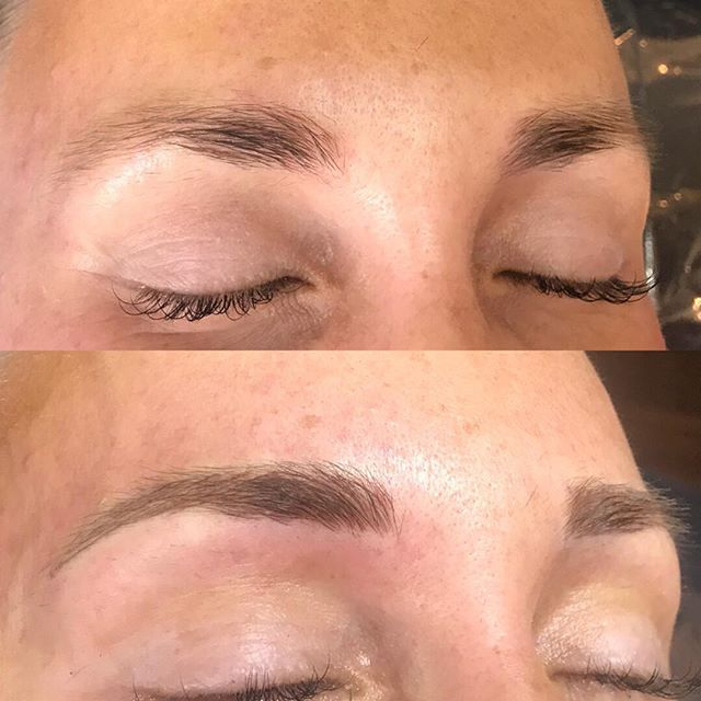 This pretty mama wanted it to be very natural and soft. I gave her just enough definition and hair strokes. #aurapermanentmakeupmachine #nanoneedle #softap #featheredbrows