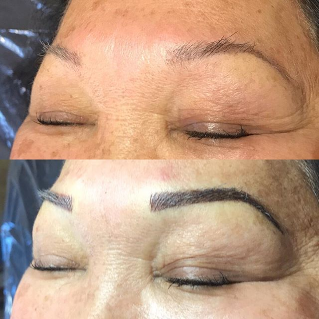 6-8 week retouch. Initially did a soft powder brow. On the retouch added a lot more strokes and deepened the shading. #softap #tinadaviespermablend #shadesandstrokes