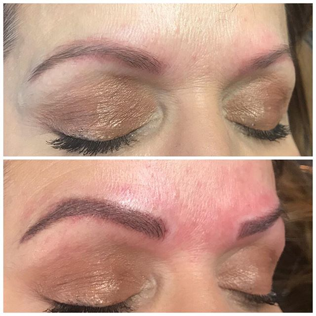 Covering an old microblading tatoo with hairstroke/powder combination.  #softap #aurapermanentmakeupmachine #powderbrows